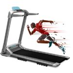 OVICX Q2S Folding Portable Treadmill Manual Compact Walking Running Machine for Home Gym Workout Electric Desk Treadmills with LED Display Device Holder Treadmills for Small Spaces